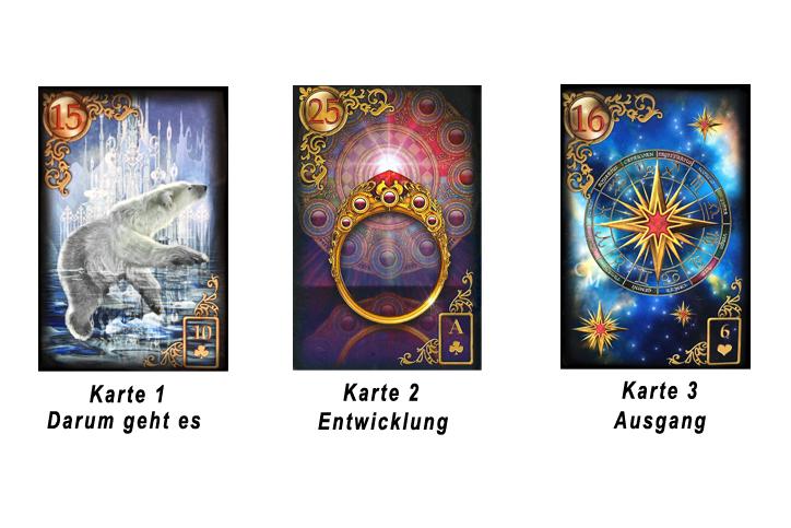 Lenormand Legesystem drei Karten