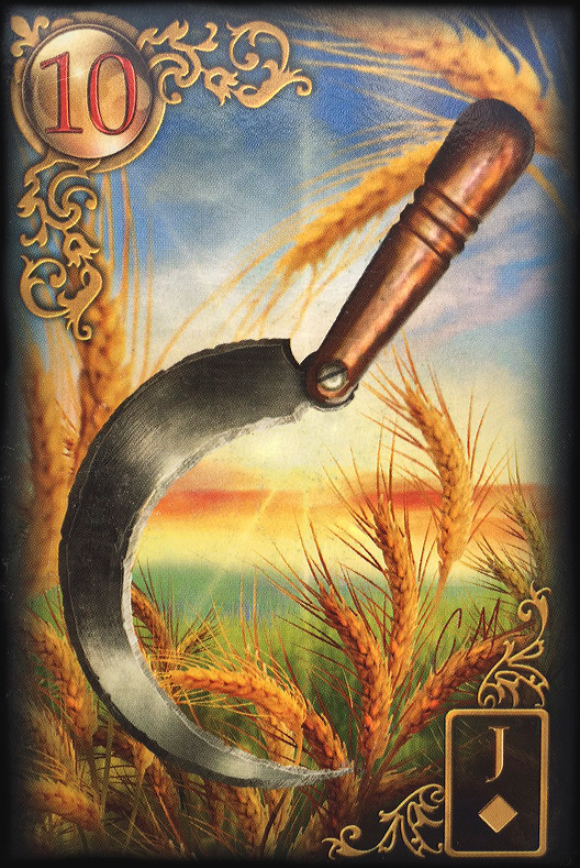 Meaning of the Lenormand Day Tarot Card the scythe