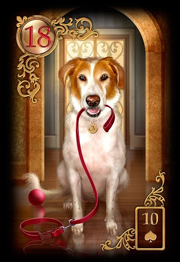 Bedeutung der Lenormand Tageskarte Hund bei Liebe Partnerschaft, Beruf, Finanzen und Gesundheit